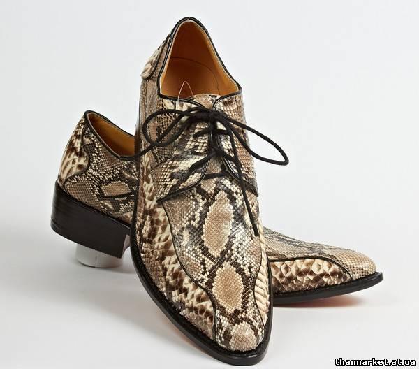 """Туфли мужские модельные из кожи питона  """"Findig """".  Модель 4293."""
